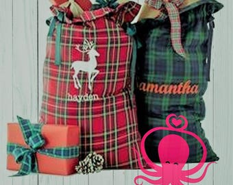 Plaid Gift Bag - Santa Sack - Christmas Bag