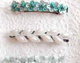 CLEARANCE - Blue beaded floral barrette, hair barrette, blue hair clip, aqua beaded barrette, blue floral barrette, something blue for a wed