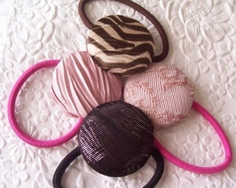 CLEARANCE - 4 fabric covered button ponytail holder - pink/brown