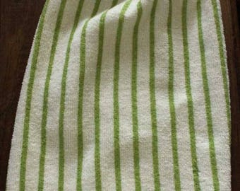 Green and White Stripe Crochet Top Hanging Towel