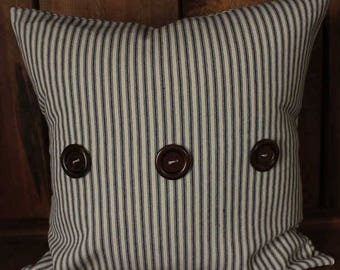 Blue Ticking Stripe Removable Decorative Throw Pillow Cover, 18 x 18