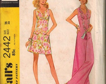 1970 McCalls 2442 Retro Mod Dress Sewing Pattern Vintage Size 16 jumpsuit romper halter