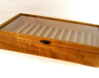 Handmade Fountain Pen and Rollerball Pen Display Case Curly Maple Wood