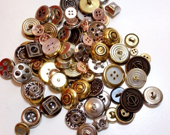 Metal Buttons, Goldtone and Silvertone Metal Mixed Buttons x 1/4 Pound Button Lot, Gold and Silver Buttons, New Old Stock
