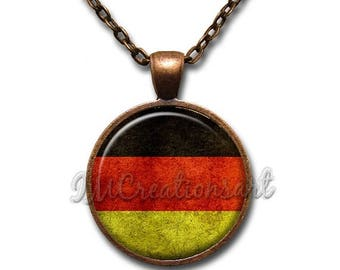20% OFF - Vintage German Flag Glass Dome Pendant or with Chain Link Necklace SM212