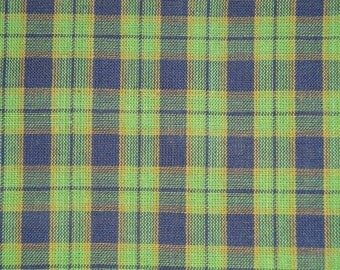 FLAWED Homespun Material Cotton Navy And Green Plaid 41 x 44