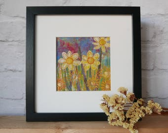 framed art, contemporary art, original flower wall art, wall decor, garden flowers, picture gift for the home, Buttercups in the Garden