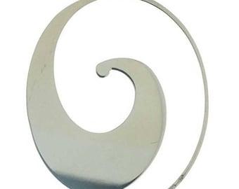 Sterling Silver Wave Slide on Hoop Earrings-Silver