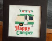 Happy Camper Cross Stitch Pattern, Retro Camper, Camper Decor, Camping Cross Stitch, Camping pdf, Camping Embroidery, Cross Stitch Trailer