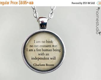 ON SALE - Bronte (Freedom) Quote jewelry. Necklace, Pendant or Keychain Key Ring. Perfect Gift Present. Glass dome metal charm by HomeStudio