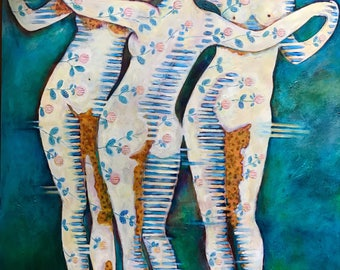 Three Graces Romantic Abstract Painting by Dee Sprague
