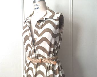 sand waves, vintage 1980s cream + brown Summer tent dress - one size fits most, medium, large, extra large