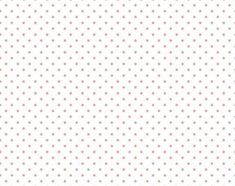 ON SALE Riley Blake Basic Coral Swiss Dots on White
