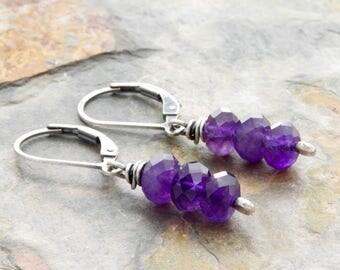 Amethyst Jewelry for Women - February Birthstone Earrings - Amethyst Earrings - Purple Gemstone Earrings - Lever Back Drop Earrings - #4903