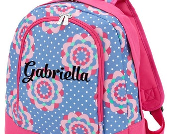 Preschool Personalized Backpack Floral Purple Hot Pink Toddler Girl School Monogrammed Initials, Zoey Collection