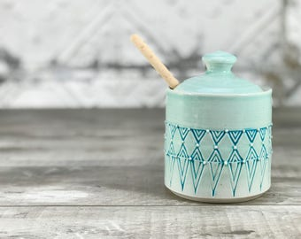 Ceramic honey pot. Porcelain honey pot. Aquamarine glazed honey pot. Aqua kitchen decor. Handmade honey jar. Wooden honey dipper. Bee keeper