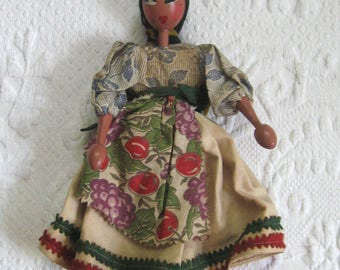 wooden doll . wood doll . folk art doll . evil eye doll