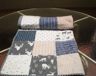 Handmade Baby quilt, deer baby quilt, baby girl or boy bedding, baby quilt, crib quilt, tan, navy, grey, woodland, rustic, toddler, New Deer