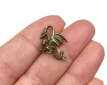 50 Bulk, Dragon Charms, antique bronze (3D) 21x15mm Hole: Approx. 1-1.5mm