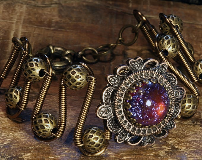 Steampunk Bracelet - Dragons Breath stone - Antique bronze and copper