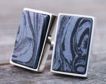 Cufflinks Handcrafted from M3 Colboltium and Carbonite Mokume M3 Metal