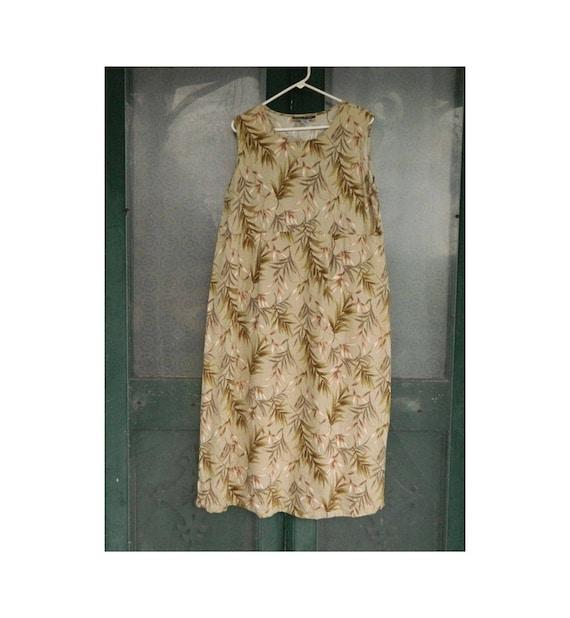 Notations Sleeveless Empire Waist Dress -XL- Green Leaf Print Linen/Rayon