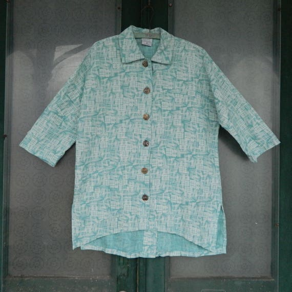 Click Color Me Cotton One Pocket Shirt S- Aqua Grid Linen NWT