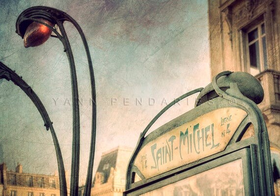 Paris wall decor, Paris Saint Michel, Paris Metro Photo, Paris Photography, Paris Metro decor, industrial decor, industrial wall art