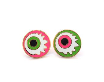 Eyeball Pin Badge, Zombie Eyeball, Eye Pin, Eye Brooch, Lapel Pin, Halloween Pin, RockCakes, uk