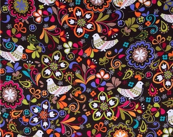 Brown/Multi Birds of Norway Michael Miller  - Cotton Quilting Fabric - 1 Yard