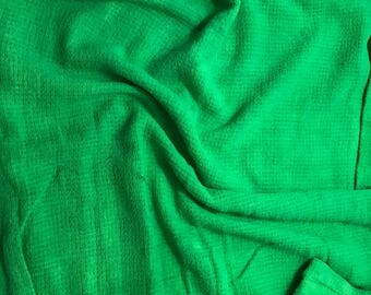 """Bright Kelly Green - Hand Dyed Raw Silk Noil Squares Weave Fabric - 18""""x22"""""""