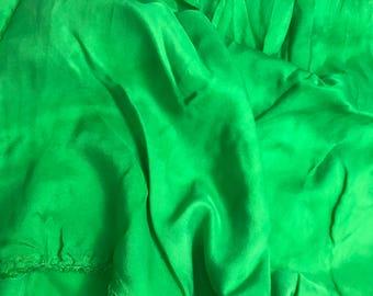 Bright Kelly Green - Hand Dyed Silk Twill Fabric- 1/4 Yard