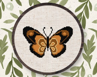 Brown Butterfly. Insect Modern Simple Counted Cross Stitch PDF Pattern. Instant Download PDF Pattern