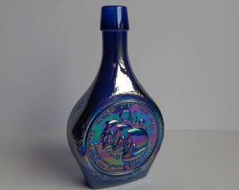 Apollo 11 Moon Landing Commemorative Blue Carnival Glass Bottle