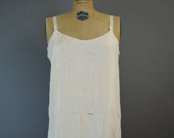 1920s AS IS Ivory Silk Full Slip, Vintage Dress Slip, Cutter Costume