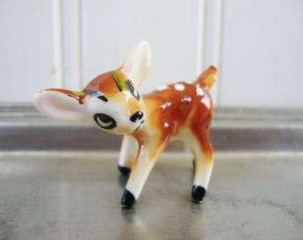 vintage miniature deer fawn bone china figurine