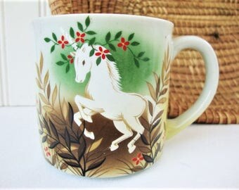 vintage unicorn mug otigiri stoneware cup