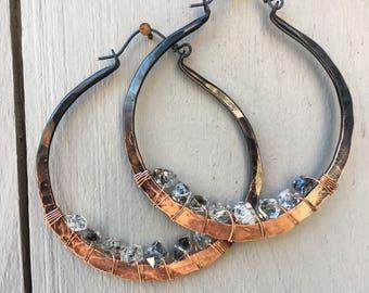 Copper Hoop Earrings Large Hoops Copper Hoop Earrings Crystal Earrings DanielleRoseBean Custom Hoop Earrings witch jewelry