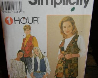 Christmas in July Simplicity Misses Lined Vest Pattern N 7320 Uncut size Bb=Large, XLarge