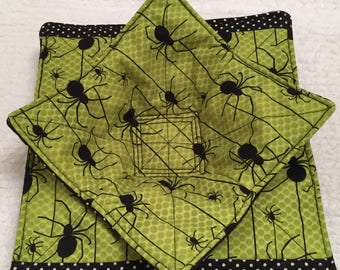 Microwave Bowl Cozy, Halloween Party Gift, Friendship Gift, Leftovers, Pot Holder, Kitchen, Lunchroom, Hostess Party Gift, Black Spiders
