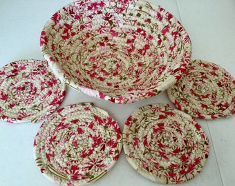 Coiled Fabric Coasters and Bowl Set, Trivet,  Mug Rug - Pink and Tan Home and Living, Kitchen,  handmade