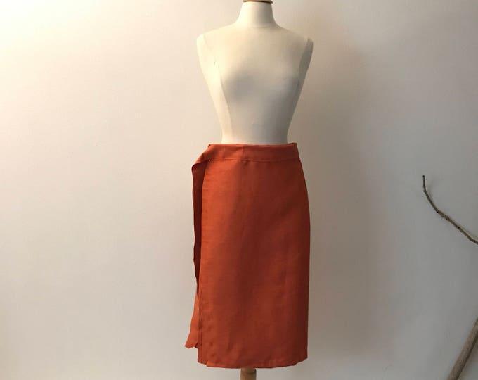 orange linen minimalist mid calf length wrap skirt / ready to wear wrap skirt / linen wrap skirt / women clothing / plus size skirt / linen