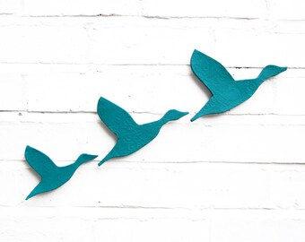 Ceramic wall art Flying ducks in turquoise bright blue Set of 3 stoneware pottery birds Home decor artwork Modern classic retro silhouette