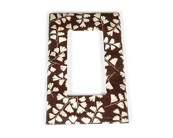Rocker Switch Plate Light Switch Cover Wall Decor Light Switchplate  in Brown Leaves  (267O)