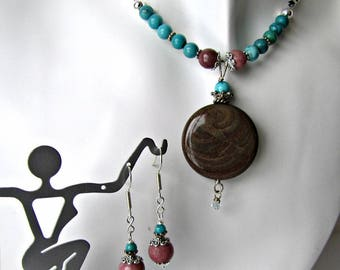 Rhodonite and KingmanTurquoise Necklace and Earrings Set, Choker, Dangle Earrings, Pendant,  Beaded Jewelry,  Gemstones,  #1291