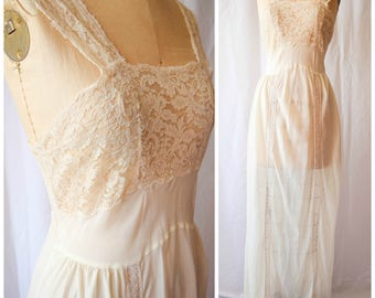 Colleen | Vintage 1950s Nightgown 50s Lingerie Slip Ivory Dupont Nylon Lace Bodice and Straps Lace Trim Long Length Marshall Fields Bust 36""