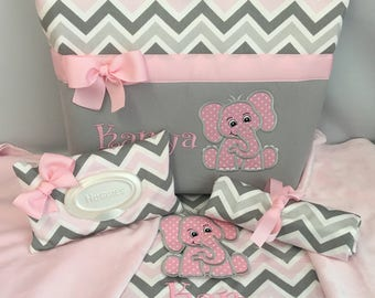 Elephant ... CHEVRON Zoom  in PINK and Gray ... Diaper Bag SET ... MInky Blanket ... Wipe .. Changing Pad Monogrammed  FReE