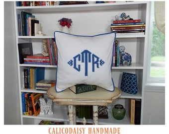 South Pointe Monogrammed Pillow Cover - 20 x 20 square