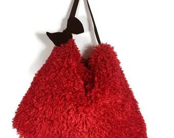 FREE SHIPPING Red Hobo Bag Faux Fur Hobo Bag Curly Lamb Hobo Bag Large Vegan Fur Purse Faux Fur Shoulder Bag Boho Shoulder Bag Fake Fur Hobo
