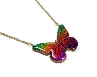 Rainbow Butterfly Statement Necklace- polymer clay pendant-Butterfly Jewelry- Faux Dichroic Pendant-Gifts for Her Birthday